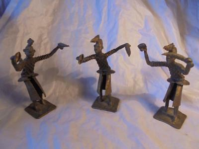 3 Vintage African Benin Tribe Bronze Figures Of Dancers With Bird Head Dresses