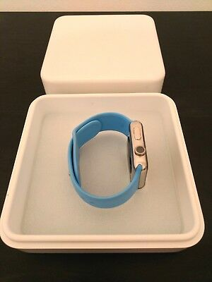 Apple Watch series 1 42mm case stainless steel w/Sky Blue band