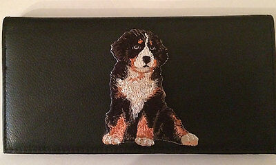 Bernese Mountain Dog Leather Checkbook Cover