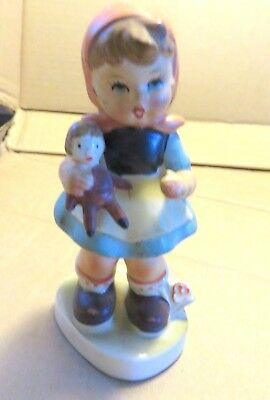 Ceramic Figurine - Girl Holding Doll - Japan