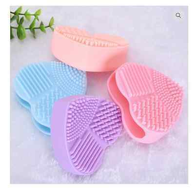 Makeup Foundation Brush Cleaner Cosmetic Cleaning Silicon Heart  Scruber Glove..