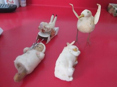 4 Antique SPUN COTTON  XMAS ORNAMENTS  - Estate Find