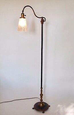 Antique Cast Iron Bridge Lamp With Iridescent Etched Glass Shade