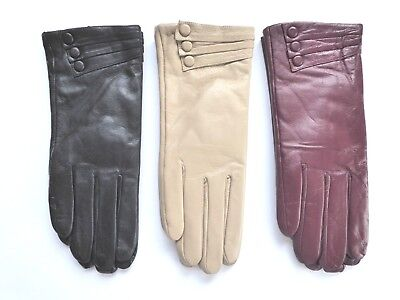 ladies womens leather gloves with button / overlap detail black, maroon, cream