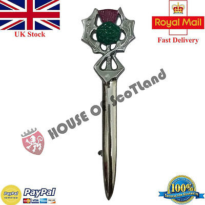 Men's Scottish Thistle Hilt Kilt Pin Green,Pink Enamel/Highland Pins Brooch 4""