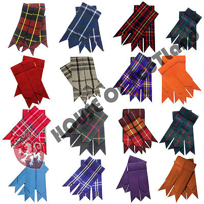 Highland Kilt Hose Sock Flashes Various Tartans/Scottish Kilt Socks Flashes