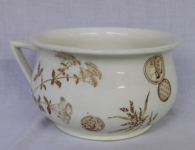 Antique G.W.T.& S. AESTHETIC Victorian BROWN TRANSFERWARE CHAMBER POT