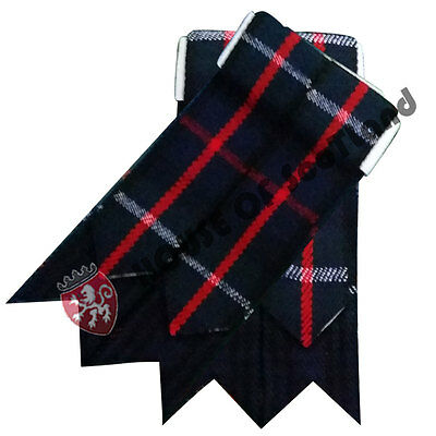 Men's Scottish Kilt Hose Sock Flashes Mackenzie Tartan Highland Wear Flash Wool