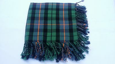 "Scottish Kilt Fly Plaid Ferguson Tartan  Purled Fringe Acrylic Wool 48"" X 48"""
