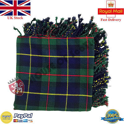 MacLeod of Harris Tartan Scottish Purled Fringe  Fly Plaid for Traditional Kilts