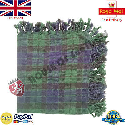 New Mackey Tartan Scottish Purled Fringe  Fly Plaid for Traditional Kilts