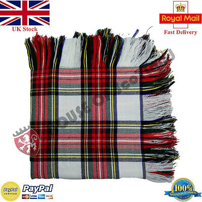 New Dress Stewart Tartan Scottish Purled Fringe  Fly Plaid for Traditional Kilts