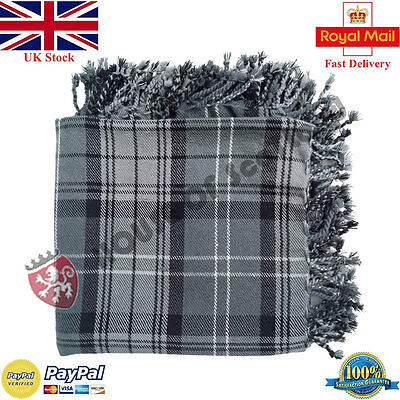 New Hamilton Grey Tartan Scottish Purled Fringe  Fly Plaid for Traditional Kilts