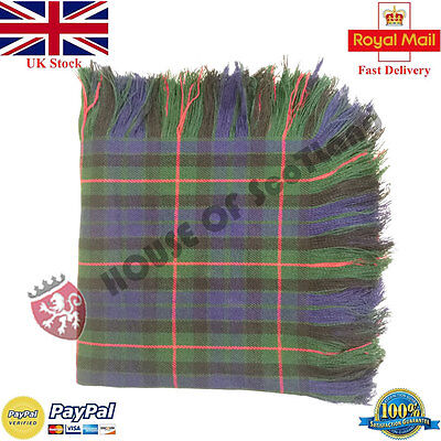 New Gunn Modren Tartan Scottish Purled Fringe  Fly Plaid for Traditional Kilts