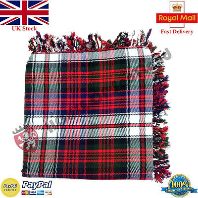 Scottish Dress Macdonad Tartan Purled Fringe Kilt Fly Plaid for Traditional Kilt