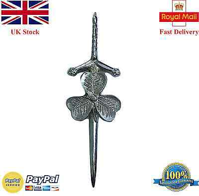 "New Scottish Kilt Pin Irish Shamrock Chrome Finish 3.5""/Thistle Hilt Kilt Pins"