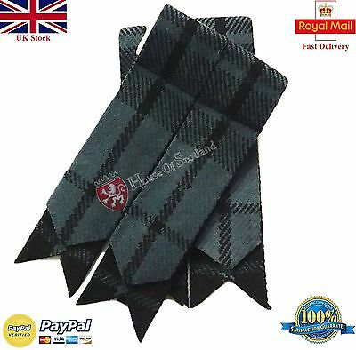 Men's Scottish Highland Kilt Hose Sock Flashes Grey Watch Tartan