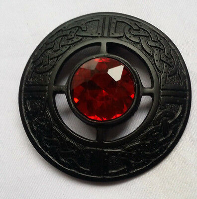 "Men's Kilt Fly Plaid Brooch Red Stone Black Finish 3""/Celtic Fly Plaid Brooches"