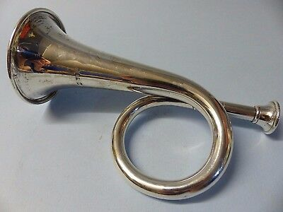 Hallmarked Silver Very Old Hunting Horn - Silver Bugle - Besson - Extremely Rare