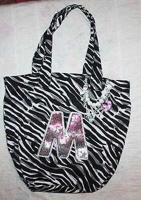 """JUSTICE - Girls Tote Bag - Personalized """"M"""" - sequins - NEW"""