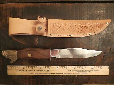 Vintage Hunting Bowie Knife / Cocobolo Wood/stag Handle /with Leather Sheath