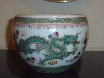 Superb Chinese Qianlong Period Mark Famille Rose Dragon Bowl