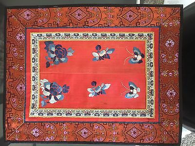 Fine Old Chinese Silk - Colorful Red and Blue