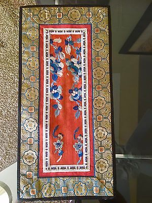 Old Chinese Silk - Fine Yellow, Blue and Red Design