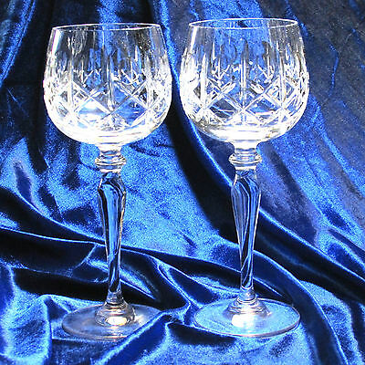 Clara Cross & Olive 2 Crystal Wine Hocks Imperial Import Crystal 7.5""