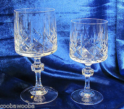 Cristal D'Arques France Crystal Cross & Olive Wafer Stem 1 Water Goblet &1 Wine