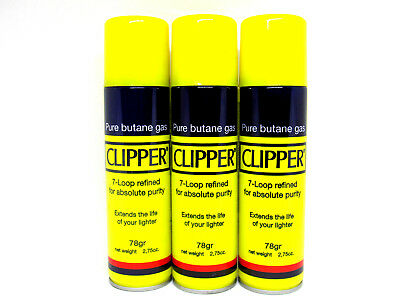 Clipper 7X Mini Butane 2.75oz  Fuel 3 Pack Premium Univerasl Gas Lighter Refill
