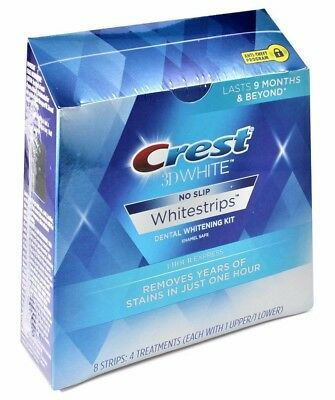 Crest 3D 8 x 1 Hour Express Teeth Whitening Strips White 4 Pouches Sealed Box