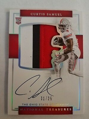 2017 National Treasures Collegiate CURTIS SAMUEL Rookie Patch Auto #1/25 OSU