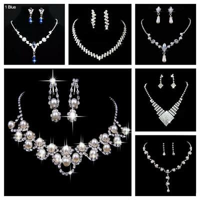 Usa Ship  Bridal Party Jewelry Crystal Diamante Necklace Earrings Jewelry Set