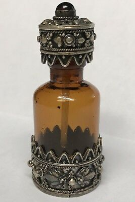 ANTIQUE GLASS PERFUME SNUFF BOTTLE with STERLING SILVER CROWN TOP & BOTTOM