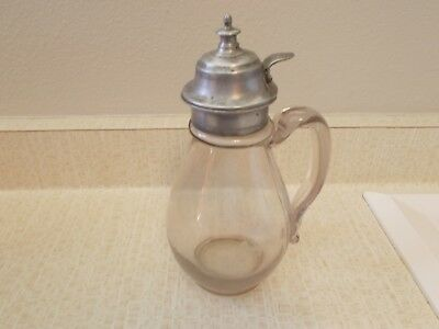 VINTAGE--HANDBLOWN GLASS--SYRUP PITCHER--w/PEWTER LID--PAT. DATE--1871