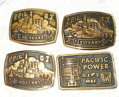 1980'S PACIFIC POWER & LIGHT BRASS BELT BUCKLE COLLECTION ~ Lot of 4