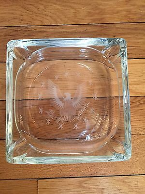 Vintage Etched Glass Military Ash Tray