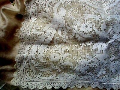 Antique Edwardian Delicate  Cotton Filet Lace Fabric Maiden Cupid Scroll Frag