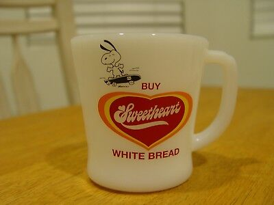 Sweetheart White Bread Peanuts Snoopy Advertising D Handled Coffee Mug