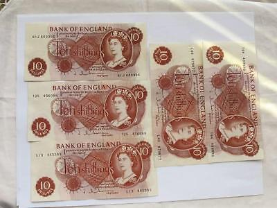 Vintage Five 10 Shilling Notes From The U K Lite Circulation Nice Type Notes