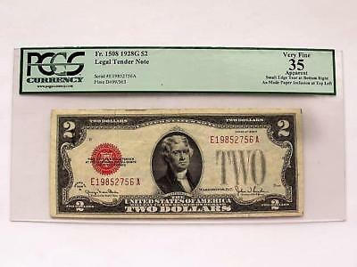 1928 G Two Dollar Red Seal U S Note Error Print Over Inclusion Pcgs Authentic