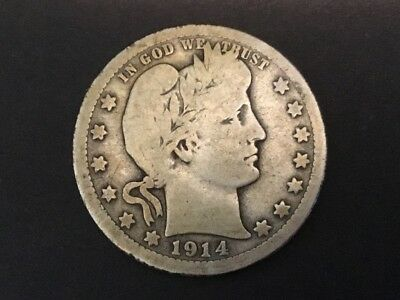 "1914 US  ""Barber"" quarter dollar coin. 103 years old."