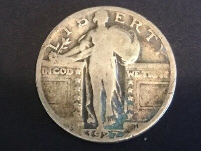 "1927 US ""Standing Liberty"" quarter dollar coin."