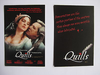 QUILLS 2001 Orig Australian movie postcards Geoffrey Rush Kate Winslet Caine