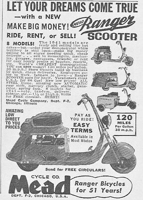 Vintage 1941 MEAD CYCLE CO. RANGER Gas Engine Motor SCOOTER print ad~Chicago