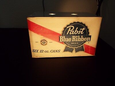 Vintage Pabst Blue Ribbon 6 pack 12oz cans table/bar top lamp blinking light