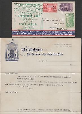 US 1938 national airmail week NAMW Greenville Ohio with letter content