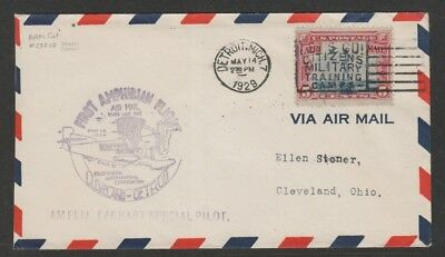 US 1929 first flight carried by Amelia Earhart -  Detroit - Cleveland