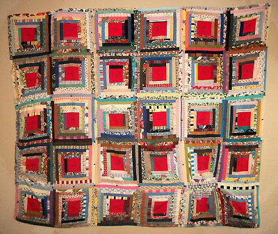 "Vtg 1930's American Multi-Textile Patchwork Quilt Log Cabin Pattern  --68"" x 56"""